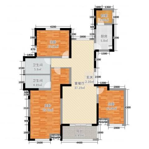 观澜盛世3室2厅2卫1厨148.00㎡户型图
