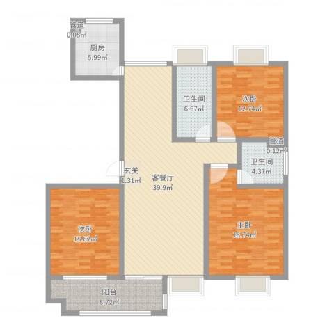 昌和时代3室2厅2卫1厨141.00㎡户型图