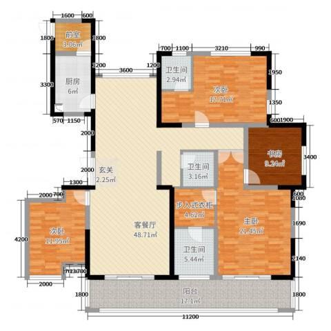 观澜盛世4室2厅3卫1厨195.00㎡户型图