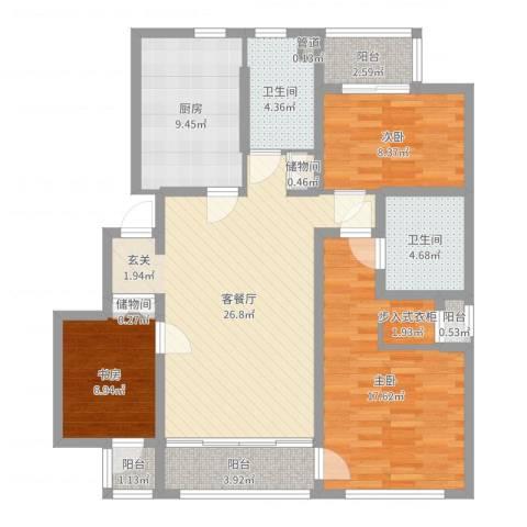 裕沁湖畔庭3室2厅2卫1厨109.00㎡户型图
