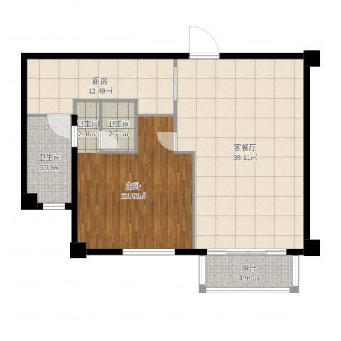 宛平881室2厅2卫1厨112.00㎡户型图