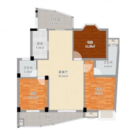 蓝湾景天3室2厅2卫1厨117.00㎡户型图
