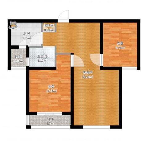 华翔世纪城2室2厅1卫1厨81.00㎡户型图