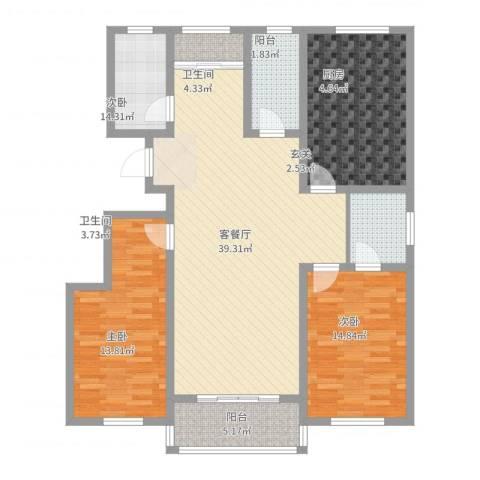港电家园3室2厅2卫1厨127.00㎡户型图
