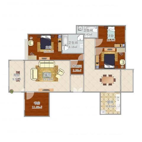 恒大帝景3室1厅2卫1厨193.00㎡户型图