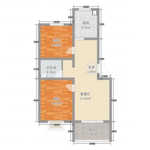 宣府第一城2室2厅1卫1厨91.00㎡户型图