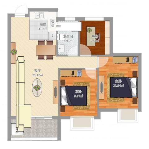 金桥水岸花园3室1厅1卫1厨65.13㎡户型图