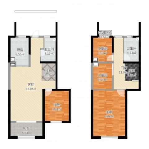 天朗蔚蓝东庭4室1厅3卫1厨135.00㎡户型图