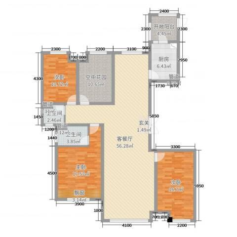 恒茂国际都会3室2厅2卫1厨175.00㎡户型图