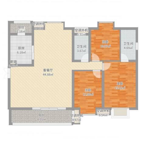 恒基雍景新城3室2厅2卫1厨136.00㎡户型图
