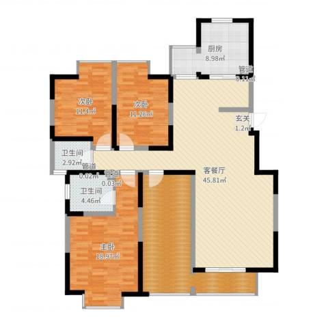 西安印象3室2厅2卫1厨155.00㎡户型图