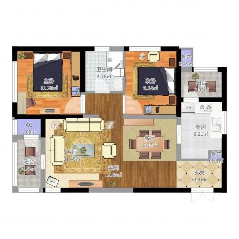 白桦林间2室1厅1卫1厨88.00㎡户型图