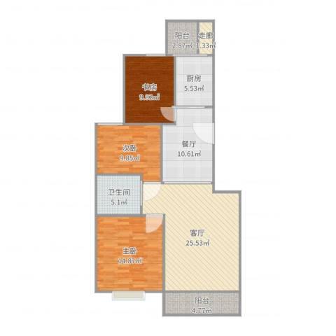 桐城・怡景3室2厅1卫1厨113.00㎡户型图