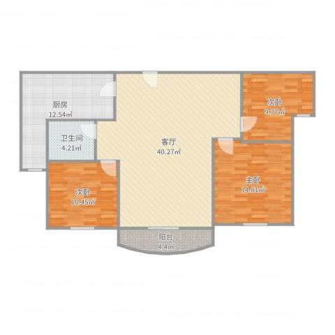 伯爵大地3室1厅1卫1厨121.00㎡户型图