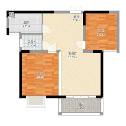 富山・东城海岸2室2厅1卫1厨76.00㎡户型图