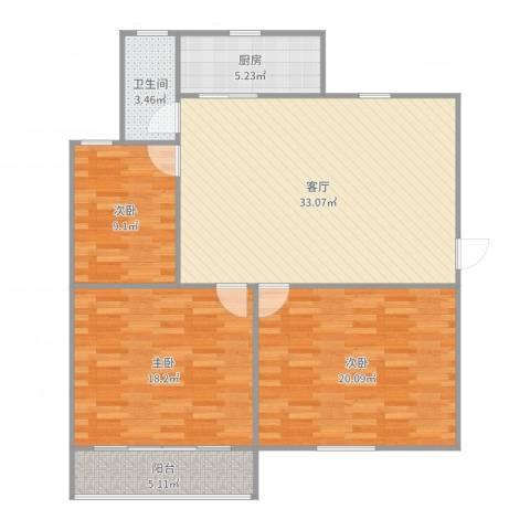 贝港北区3室1厅1卫1厨118.00㎡户型图