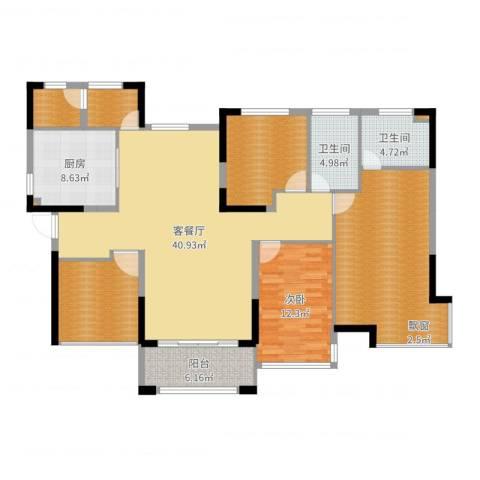 丰泰悦榕东岸1室2厅2卫1厨155.00㎡户型图