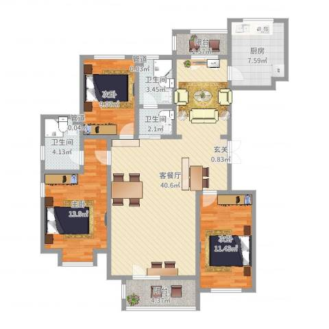 宝坻书香园3室2厅3卫1厨124.00㎡户型图