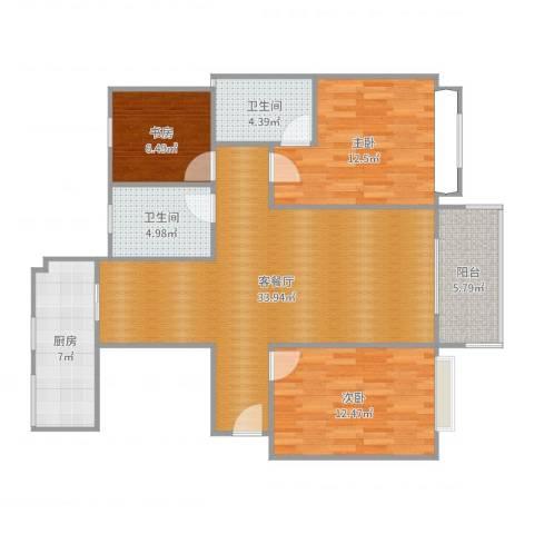 荆门碧桂园四期凤林苑3室2厅2卫1厨109.00㎡户型图