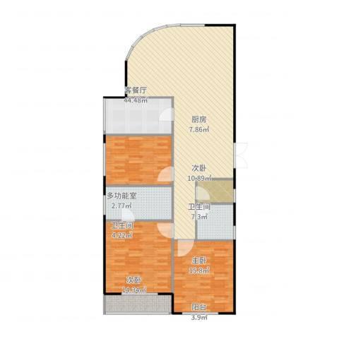 瑞宝国际花苑3室2厅2卫1厨149.00㎡户型图