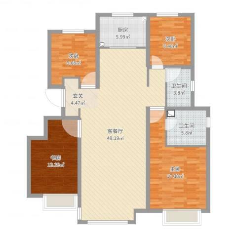 华润・仰山云栖径4室2厅2卫1厨141.00㎡户型图