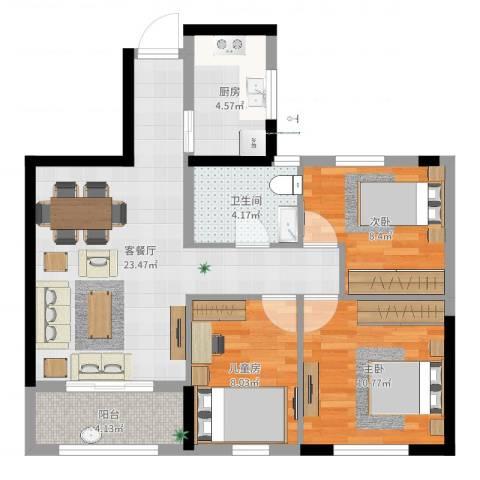 万泰时代城3室2厅1卫1厨79.00㎡户型图