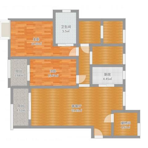宝能城市广场2室2厅1卫1厨119.00㎡户型图