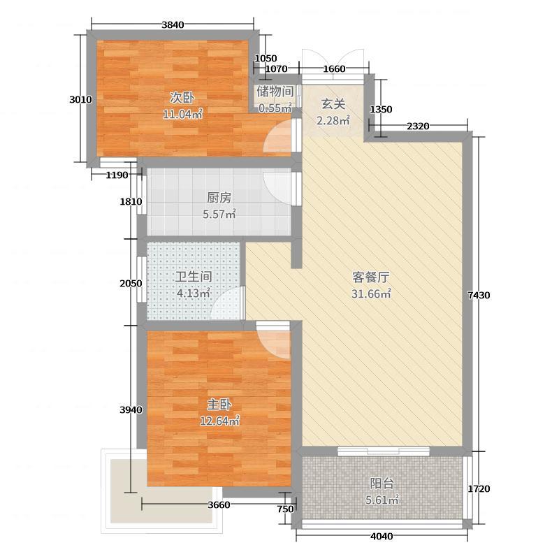 金苑如意广场89.00㎡A3户型2室2厅1卫1厨