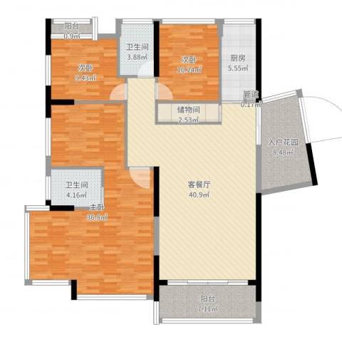 红豆美墅3室3厅3卫1厨163.00㎡户型图