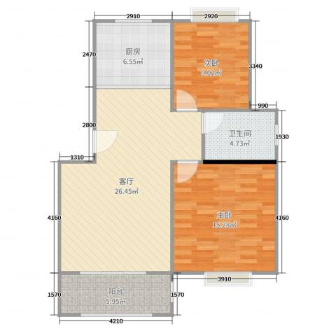 淀山湖花园2室1厅1卫1厨85.00㎡户型图