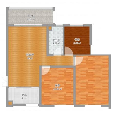 兴科明珠花园三期2室2厅3卫1厨117.00㎡户型图
