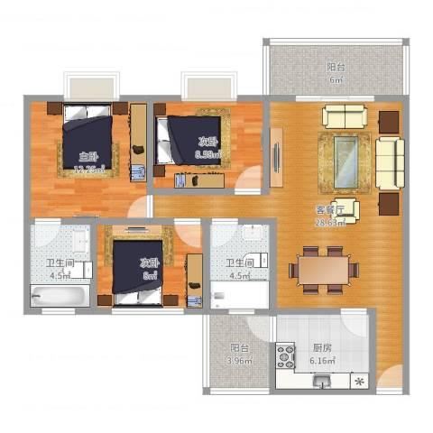 东华花园3室2厅2卫1厨103.00㎡户型图