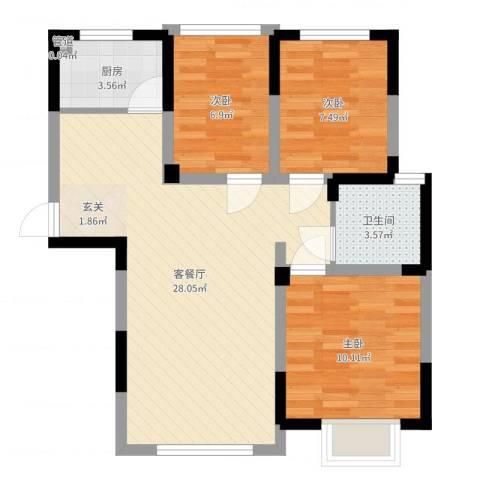 世纪绅城3室2厅1卫1厨75.00㎡户型图