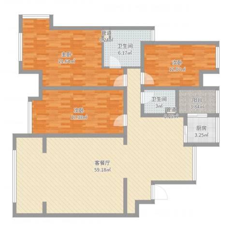 御翠尚府3室2厅2卫1厨159.00㎡户型图