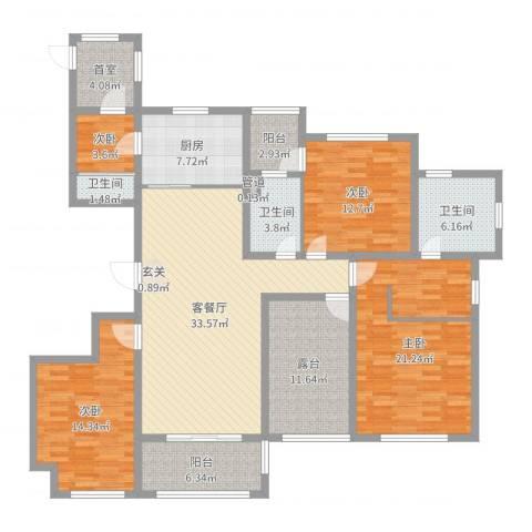 国润溪香米兰4室2厅3卫1厨162.00㎡户型图
