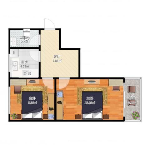 文善里1-2-3012室1厅1卫1厨54.00㎡户型图