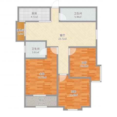 华城泊郡二期3室1厅2卫1厨99.00㎡户型图