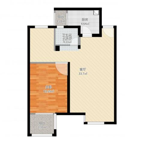 嘉定新城1室1厅1卫1厨58.80㎡户型图