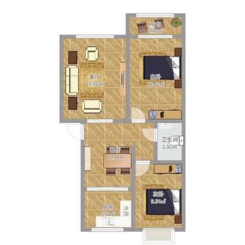 赤土山新村2室2厅1卫1厨78.00㎡户型图