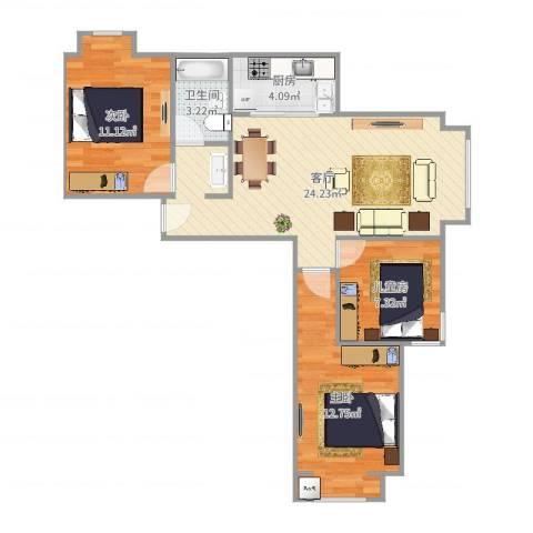 学府嘉园3室1厅1卫1厨78.00㎡户型图