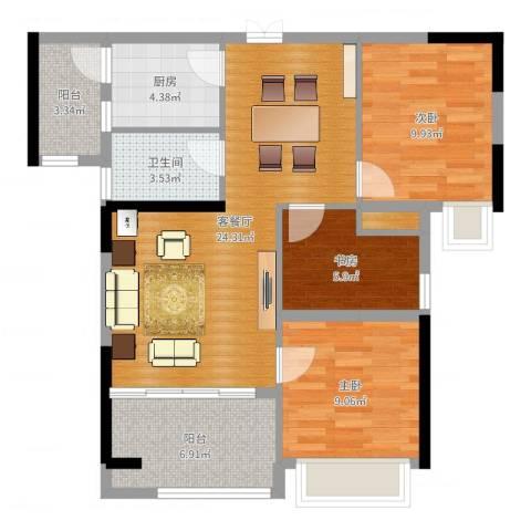 融耀江滨御景3室2厅1卫1厨85.00㎡户型图