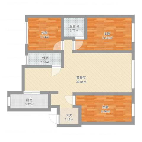 江畔花园3室2厅2卫1厨87.00㎡户型图