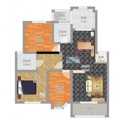都市花园3室2厅2卫1厨106.00㎡户型图