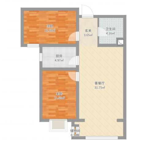 美域新城2室2厅1卫1厨81.00㎡户型图