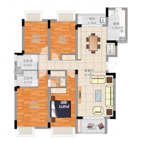 汉港凯旋城4室2厅2卫1厨127.00㎡户型图
