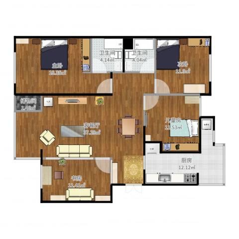 龙泽苑东区4室2厅2卫1厨139.00㎡户型图