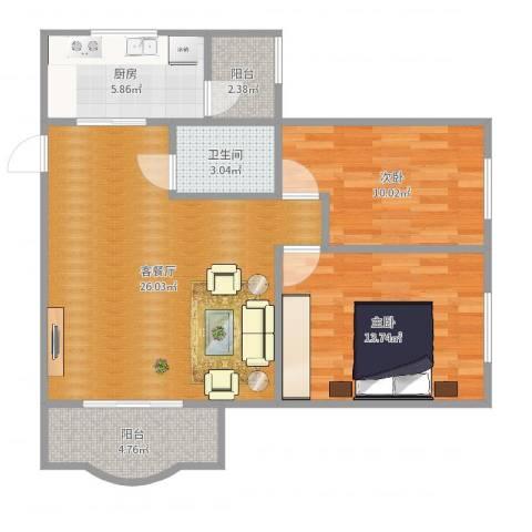 顺德碧桂园花园区2室2厅1卫1厨82.00㎡户型图