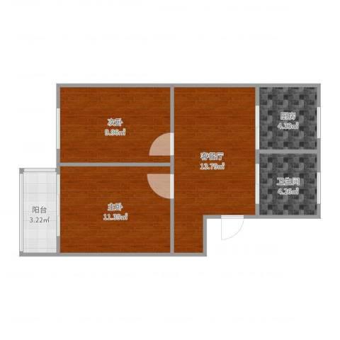 长江花园2室2厅1卫1厨59.00㎡户型图