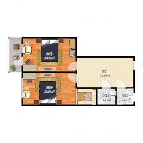 世昌里29-2032室1厅1卫1厨66.00㎡户型图