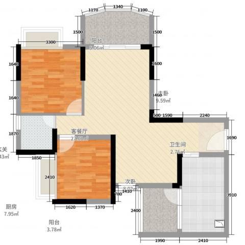 香漫溪岸2室2厅1卫1厨85.00㎡户型图